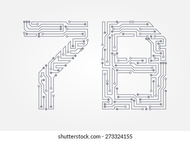 Circuit board in the form of numbers. Set of numerals seven and eight. Vector illustration