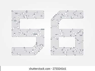 Circuit board in the form of numbers. Set of numerals five and six. Vector illustration