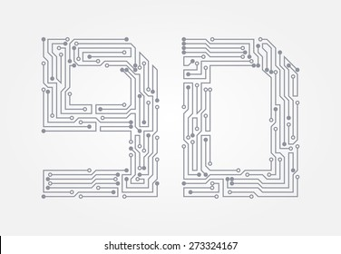 Circuit board in the form of numbers. Set of numerals nine and zero. Vector illustration