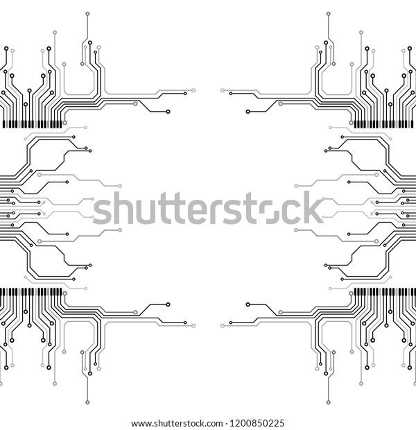 Circuit Board Futuristic Trace Processor Unit Stock Vector
