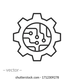 circuit board in the gear icon, microchip technology, tech logo, hardware engineering, thin line web symbol on white background - editable stroke vector illustration eps10