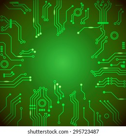 Circuit board green vector background.   engineering and tech, motherboard and computer design, vector illustration