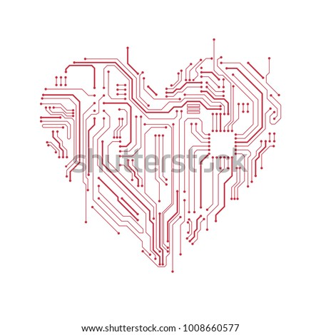 circuit board heart symbol valentines day stock vector (royalty free