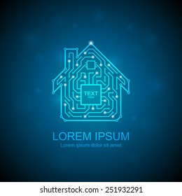 Circuit board house icon. Home automation concept.