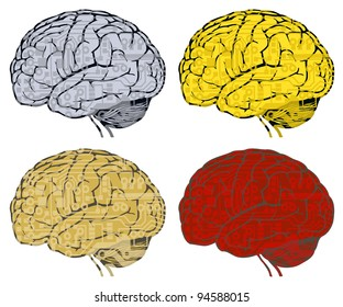 circuit board in human brain. vector illustration