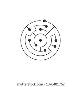 Circuit board icon. abstract circle shape IT maze. Technology symbol. Computer software concept. Power elements. Flat design. Vector Illustration.