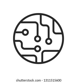 Circuit board icon vector, chip symbol. Simple circuit board sign isolated on white background for web site and mobile app design.