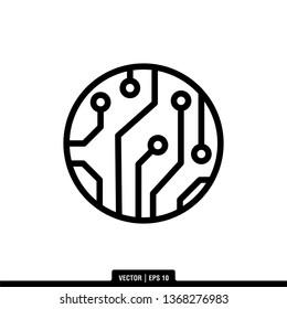 Circuit Board Icon Vector Illustration Logo Template
