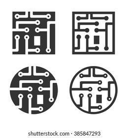 Circuit board icons in square and round shapes Vector Illustration. Set of tech circuits