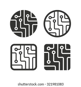 Circuit board icons. Technology scheme circles and squares sign symbols. Flat icons on white. Vector