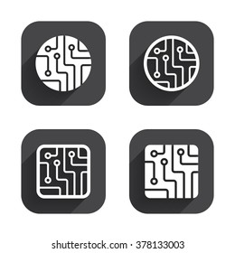 Circuit board icons. Technology scheme circles and squares sign symbols. Square flat buttons with long shadow.