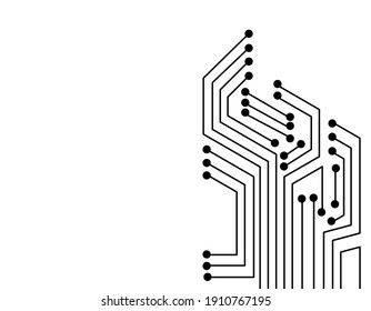 Circuit board illustration isolated on white background. Motherboard design vector.