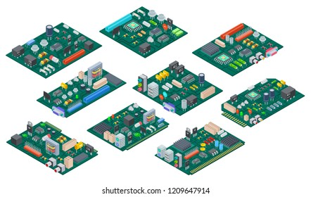 Circuit board isometric. Electronic computer components motherboard. Semiconductor microchip, diode. Hardware vector parts