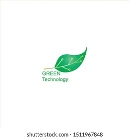 Circuit board leaf shape green , technology vector icon. For your web site design, logo, app, UI. Vector illustration