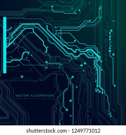 Circuit board motherboard digital chip futuristic server electronic computer hardware technology information engineering processor flat dark background vector illustration
