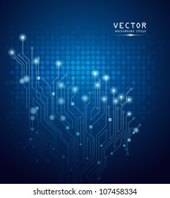 Circuit board on blue background, vector illustrations
