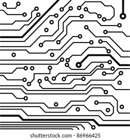 circuit board pattern black-and-white. vector illustration