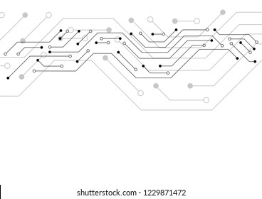 Circuit board pattern dots and lines for technology background. Vector illustration