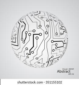 Circuit board planet eps 10, vector illustration