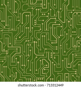Circuit board. Seamless green electronic pattern. Vector illustration