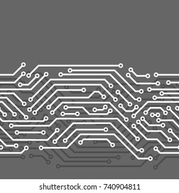 Circuit board seamless pattern. Background of microchip elements.