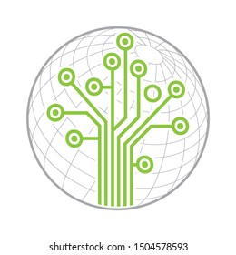 circuit board in shape of tree with globe in behind, vector