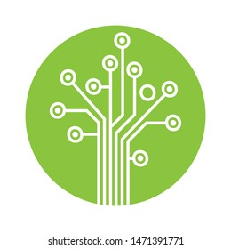 circuit board shaped tree, vector logo icon