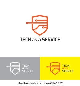 Circuit board, shield tech,  technology icon, vector illustration. Flat design style