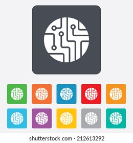 Circuit board sign icon. Technology scheme circle symbol. Rounded squares 11 buttons. Vector