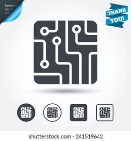 Circuit board sign icon. Technology scheme square symbol. Circle and square buttons. Flat design set. Thank you ribbon. Vector