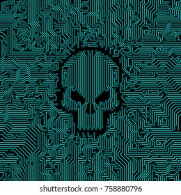 Circuit board skull / Vector illustration of abstract computer circuit board pattern with skull shape in the middle