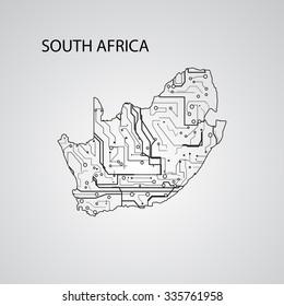 Circuit board  South Africa  eps 10, vector elegant illustration
