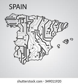 Circuit board Spain eps 10, vector elegant illustration