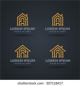 Circuit board styled smart home logo vector set on dark background