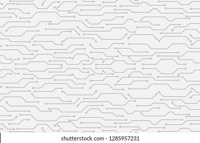 Circuit Board Technology Grayscale Color Infographic Vector Background. Abstract Modern PCB Trace Data Transfer Design Illustration.