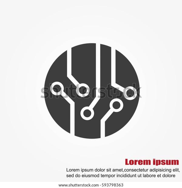Circuit board, technology icon, vector illustration