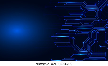Circuit Board Technology Information Frame Pattern Concept Vector Background. Blue Abstract Scifi PCB Trace Data Transfer Design Illustration.