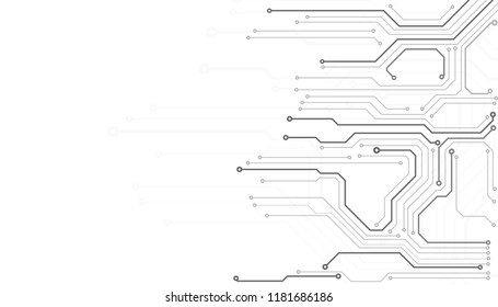 Circuit Board Technology Information Pattern Concept Vector Background. Abstract Grayscale PCB Trace Infographic Design Illustration.