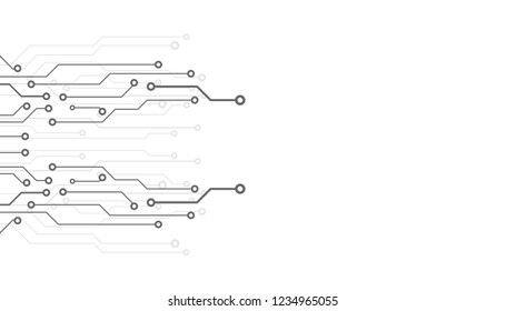 Circuit Board Technology Information Pattern Concept Vector Background. Grayscale Color Abstract PCB Trace Data Infographic Design Illustration.
