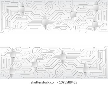 Circuit board texture on the white background. Abstract digital modern concept style. High tech vector illustration