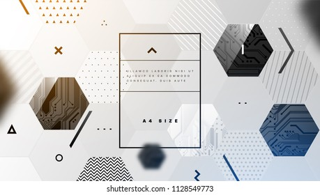 Circuit board with trendy geometric elements background. Futuristic technologies concept design. Eps10 vector illustration