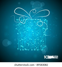 circuit board vector background, technology illustration, christmas gift eps10