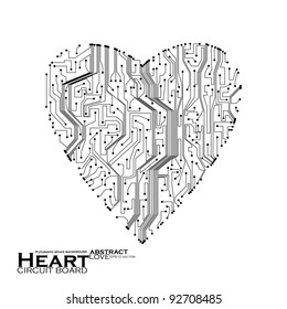 circuit board vector background, technology illustration, form of heart eps10