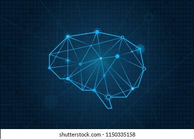 Circuit board vector science background, technology brain illustration, polygon tech neuron brain, eps 10