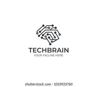 Circuit brain logo template. Artificial intelligence vector design. Human brain and circuit board illustration