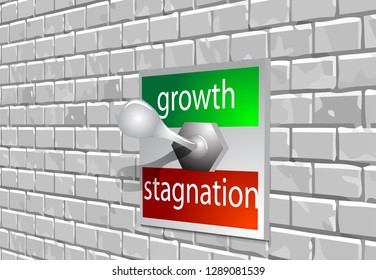 circuit breaker marked growth stagnation on the brick wall