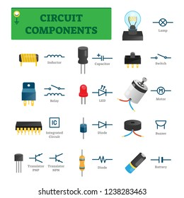 Circuit components vector illustration. List with electric technology parts like inductor, relay, integrated circuit, diode or transistor. Isolated tech scheme symbols. Digital hardware engineering.