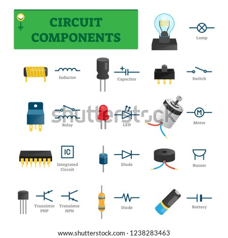 circuit components vector illustration list electric stock vectorcircuit components vector illustration list with electric technology parts like inductor, relay, integrated circuit, diode or transistor isolated tech