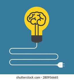 Circuit. Concept of brain light bulb. Flat design.