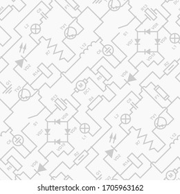 Circuit diagram seamless pattern. Electrical vector texture. Black and white elementary diagonal background